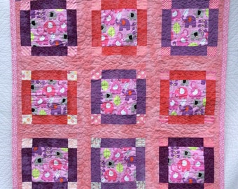 Elephants On Parade Baby Girl or Toddler Quilt