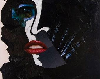 Despair, collage on canvas, 24x30