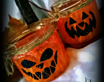 Halloween Jack'O'lantern/pumpkin tealight holder/jar