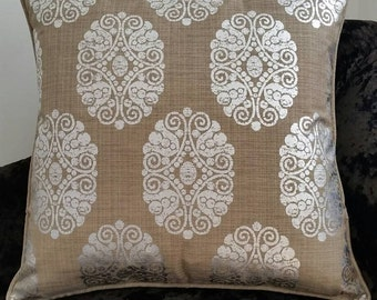 Metallic Silver/Taupe Linen Piped Cushion..STUNNING