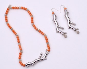 Set of Salmon Natural Coral Necklace and Earrings with Unique Sterling Silver Handmade Beads and Sterling Silver Coral Shape Pendant