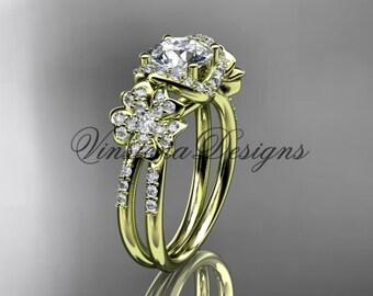 14kt yellow gold diamond Cherry Blossom flower, Sakura engagement ring VD8140