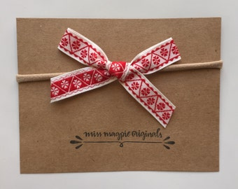 Vintage ribbon bow || Red & White