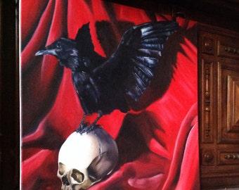 Crow on human skull