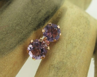 Amethyst and Rose Gold Stud Earrings