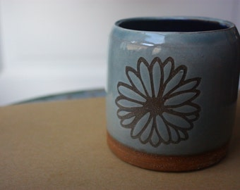 Light blue ceramic vessel with flower design - beautiful handmade clay pottery - functional stoneware