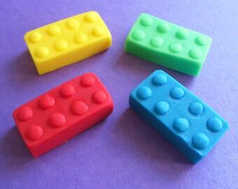 24 Edible Sugar Fondant BRICKS Blocks Lego inspired Cake Cupcake Toppers Decorations