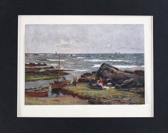 FRESH FROM The SEA Genuine Original Antique Fine Art Print by Robert W Allan c.1900 - Vintage Plate Mounted Print Painting Seascape Scottish