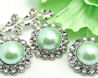 MINT GREEN Rhinestone AcrylicPearl Button W/ Clear Surrounding Rhinestones Button Wedding Garment Buttons Button Bouquet 26mm 3185 9P 2R