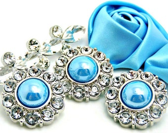 SKY BLUE Pearl Button W/ Crystal Clear Surrounding Rhinestones Button Bouquets Garment Buttons Coat Buttons Diy Buttons 25mm 2997 44P 2R
