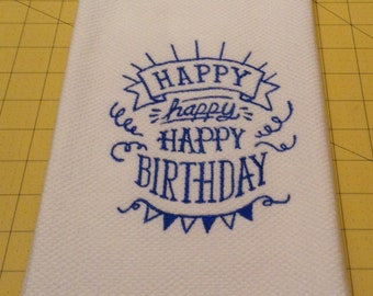 HAPPY BIRTHDAY! (Blue) Kitchen towel is a Williams Sonoma All Purpose Kitchen Towel. Made in Turkey of top-quality ribbed cotton terry