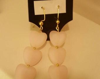 Dangle Earrings-Hearts-Pink