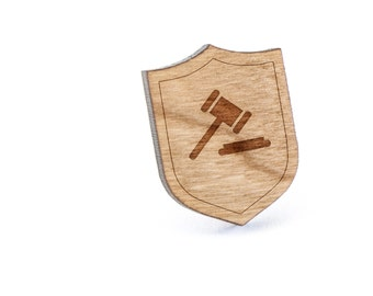 Gavel Lapel Pin, Wooden Pin, Wooden Lapel, Gift For Him or Her, Wedding Gifts, Groomsman Gifts, and Personalized