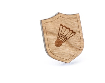 Badminton Ball Lapel Pin, Wooden Pin, Wooden Lapel, Gift For Him or Her, Wedding Gifts, Groomsman Gifts, and Personalized