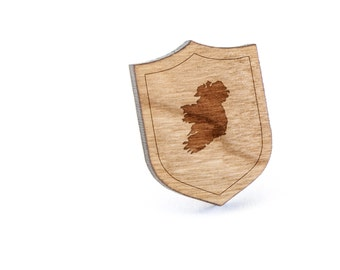 Ireland Lapel Pin, Wooden Pin, Wooden Lapel, Gift For Him or Her, Wedding Gifts, Groomsman Gifts, and Personalized
