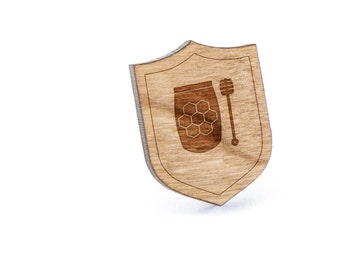 Honey Pot Lapel Pin, Wooden Pin, Wooden Lapel, Gift For Him or Her, Wedding Gifts, Groomsman Gifts, and Personalized