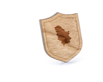 Serbia Lapel Pin, Wooden Pin, Wooden Lapel, Gift For Him or Her, Wedding Gifts, Groomsman Gifts, and Personalized