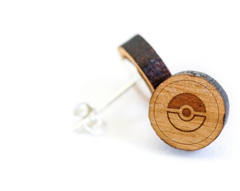 Pokeball Stud Earring, Wooden Earring, Gift For Him or Her, Wedding Gifts, Groomsman Gifts, Bridesmaid Gifts, and Personalized