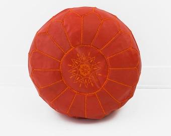 Moroccan Leather Pouf Ottoman, Blood Orange