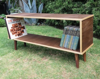 Mid Century Modern Credenza in walnut, two tone pine and walnut bookshelf, record player stand, entertainment tv stand, bookshelf, shelf
