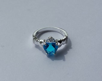 light blue claddagh ring 925 sterling silver size 7