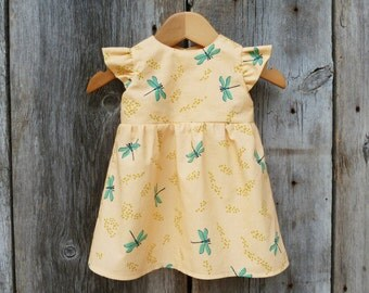 Organic baby dress, Baby birthday dress, Toddler dress, Baby special occasion dress, Organic baby clothes, Baby dragonfly, Baby girl gift