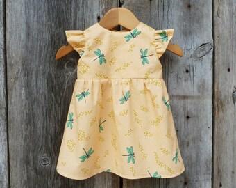 Organic baby dress, Baby birthday dress, Toddler dress, Baby special occasion dress, Organic baby clothes, Baby dragonfly, Baby girl gift