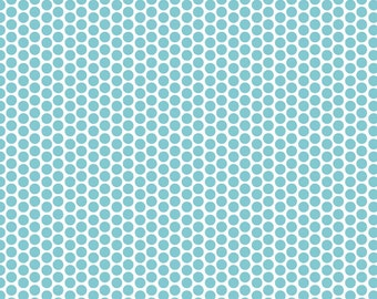 Riley Blake, Honeycomb Dot, Aqua and White, fabric by the yard