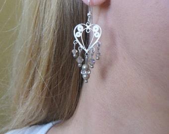 Sterling Silver Filigree Chandelier Heart Earrings with Swarovski Crystals, SE-118