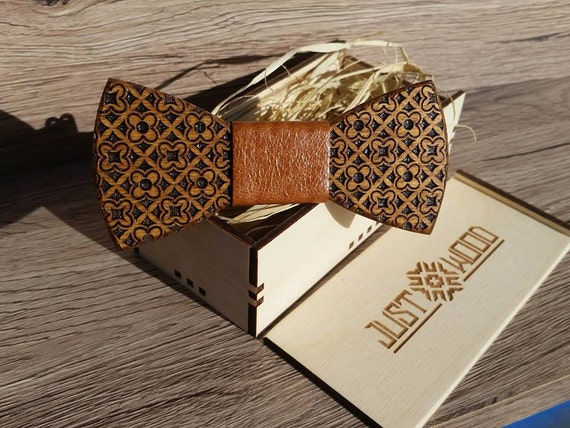 handmade wooden bow tie with gift box. Black Bedroom Furniture Sets. Home Design Ideas