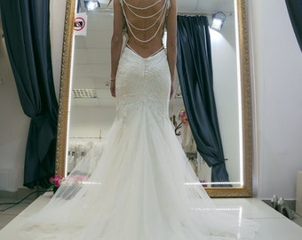 Wedding dress Galia, open back wedding dress, lace wedding dress, mermaid wedding dress, straps wedding dress, sexy back wedding dress