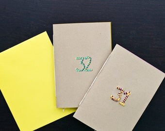 Birthday Number Card (Brown Paper with Embroidered Numbers)