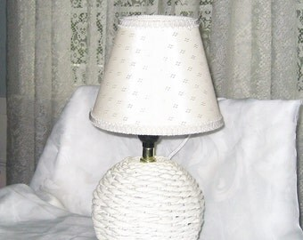 White Wicker Accent Lamp Clip on Shade 60 Watt Bulb Beach House Camp Decor Romantic Lighting Farmhouse Ambiance Cottage Chic Gift