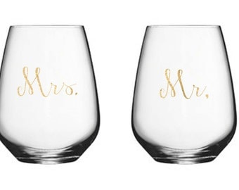 Set of (2) Vinyl Stemless Wine Glasses, Newlywed Gifts, Wedding Glasses, Personalized Stemless Wine Glass, Stemless Wine Glass
