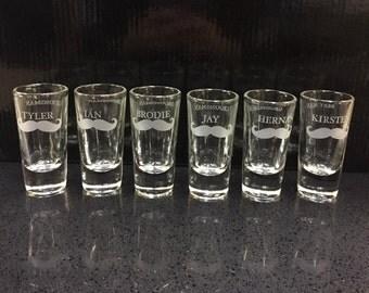 Set of (7) Groom's Party Shot Glasses, Groomsman, Bestman, Grooms, Wedding Gifts
