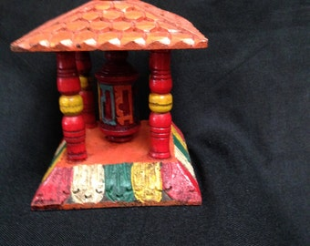 Wooden Om Mani Padme Hum Prayer Wheel