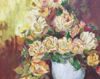 "Original Oil on Canvas Painting Yellow Roses - 23.5"" wall art, home decor, wall decor, wall hanging, Madhu Rustagi"