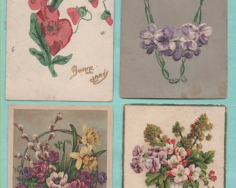 10 cards postcards old/flowers/old postcard