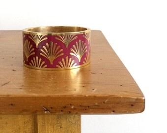 Gorgeous, Weighty, Hinged, Art Deco Inspired, Gilded Fan, Plum-Toned Enamel, Cuff Bracelet