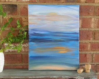 """Soft and Surf-12""""x16"""" Original Acrylic Abstract Painting on Stretched Canvas"""