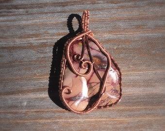 Mookaite wire woven pendant.