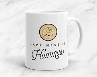 Happiness is Hummus Mug, 11oz, Vegan, Vegetarian, Plant Based, Foodie, Healthy, Vegetables, Kawaii, Cute, Funny, Love, Gift