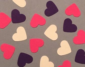 225 Heart Confetti Purple Confetti Pink Confetti Cream Confetti Birthday Confetti Party Confetti Baby Wedding Confetti Shower Confetti