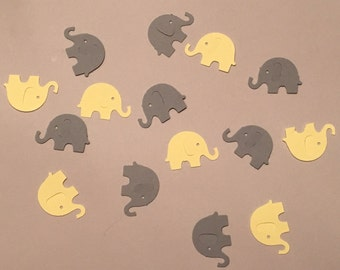 200 Yellow and Gray Elephant Confetti Yellow Confetti Gray Confetti Pastel Elephant Confetti Baby Confetti Baby Shower Confetti Die Cut