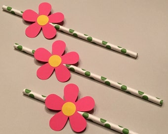 12 Pink Flower Straws Baby Shower Straws Wedding Shower Straws Birthday Party Straws Bachelorette Straws Pink Straws