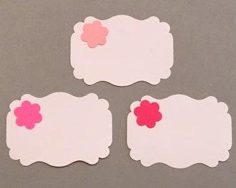 24 Place Cards Escort Cards Gift Tags Party Favor Tags Shower Place Cards Wedding Place Cards Birthday Place Cards Pink Flower Place Cards