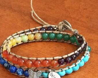 Chakra color & stone 2 wrap bracelet
