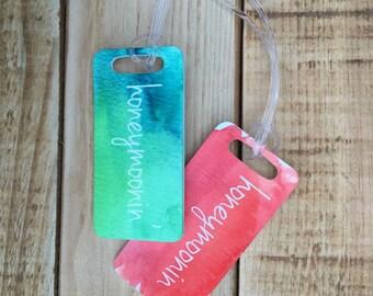 Two Honeymoonin' Luggage Tags - Newlywed Honeymoon Travel Tags