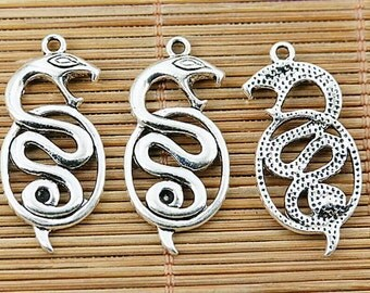 10pcs tibetan silver color snake design charms EF1445