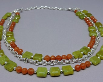 Amelia Convertible Necklace - Green and Orange